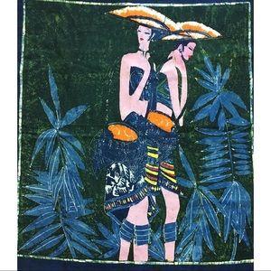 Vintage 60s Batik Style Tapestry